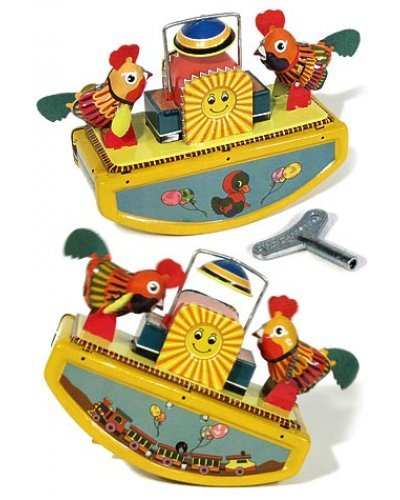 Rooster Rocking See Saw Tin Toy 1960
