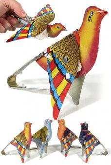 Partridge Whistling Flapping Tin Toy