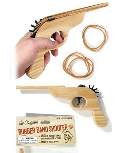 Rubber Band Shooter Wood Toy Gun