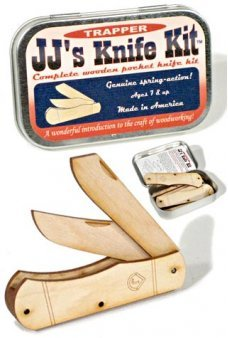 Wooden Pocket Knife Kit USA Tin Box