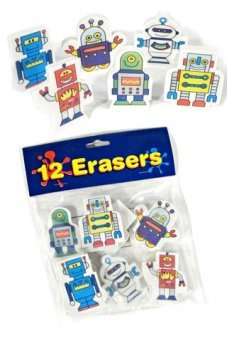 Robot Erasers Dozen Colorful Cartoons