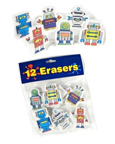 Robot Erasers Dozen Colorful Cartoons