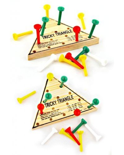 Tricky Triangle 15 Pegs Wood Game Puzzle