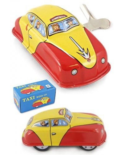 Yellow Taxi Classic Car Mini Tin Toy