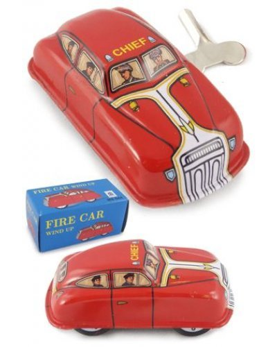 Red Fire Chief Classic Car Mini Tin Toy
