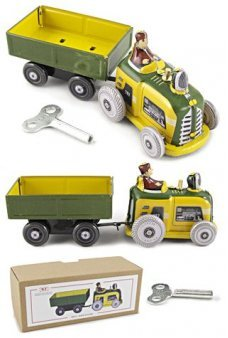 Tin Toy Tractor with Wagon Wind Up