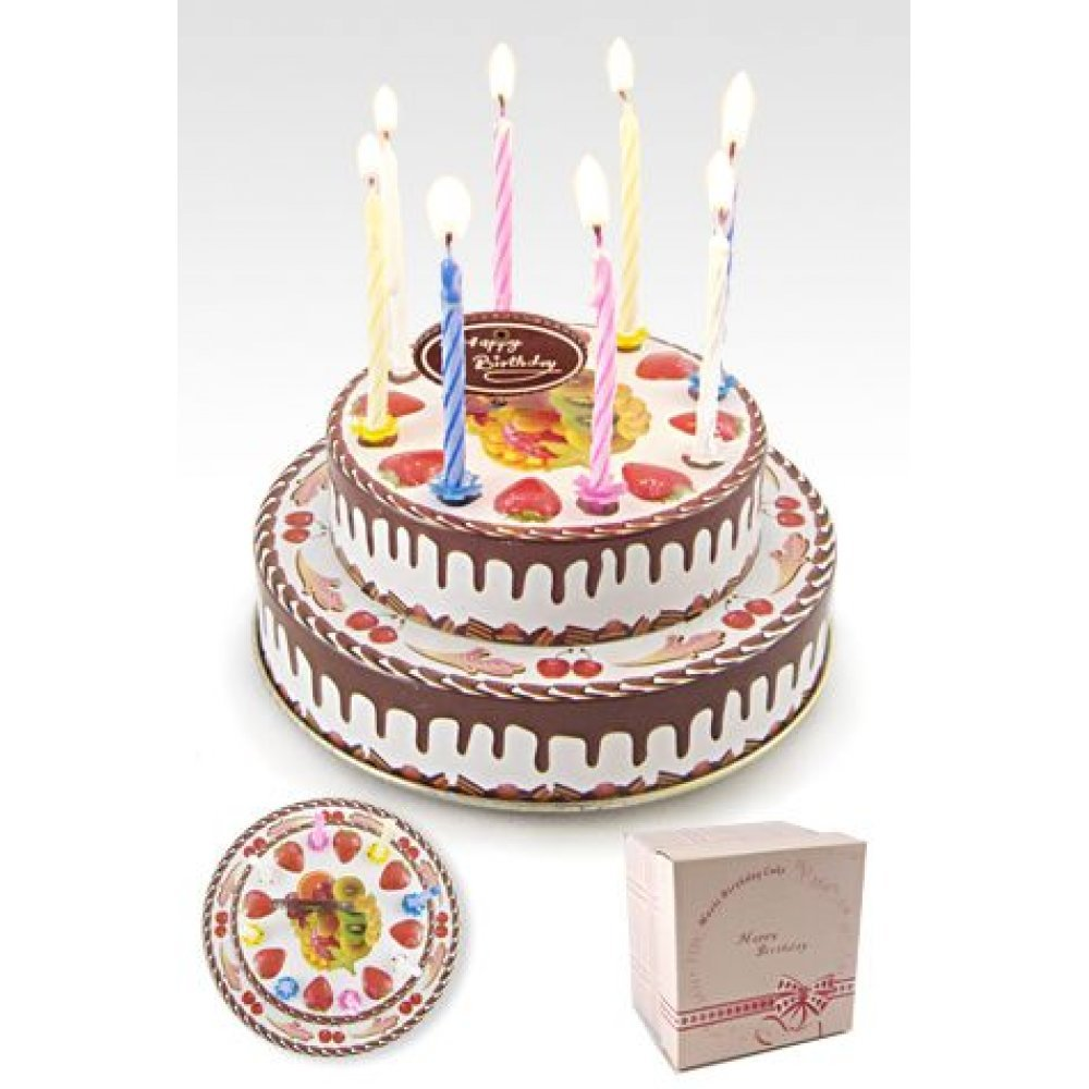 Birthday Cake Musical Tin Happy Song 8 Candles Unique Dessert BDay Gift Box