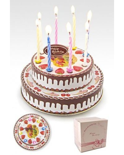 Birthday Cake Musical Tin with Candles