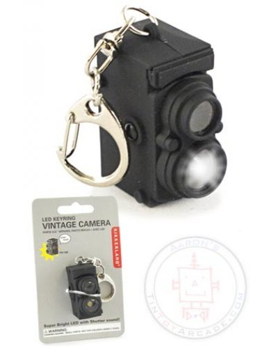 Vintage Camera LED Keyring Black