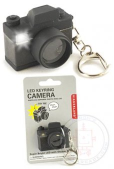 Flash SLR Camera LED Keyring Black