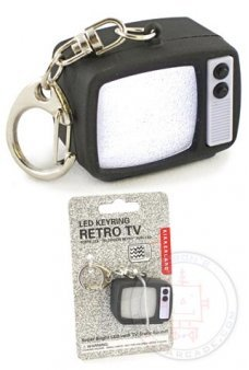 Retro TV Tube Static LED Keyring Black