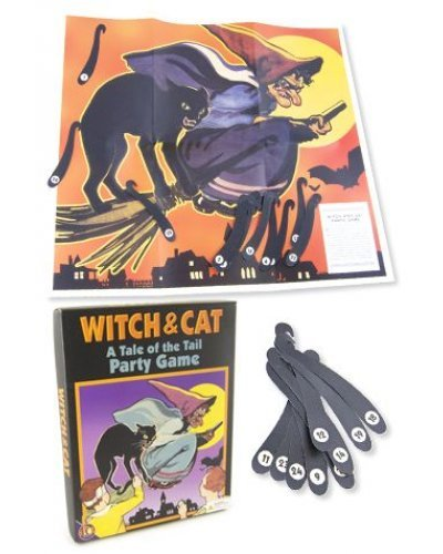 Witch and Cat Pin the Tail Party Game