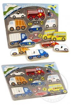Cars Peg Puzzle Colorful Wooden