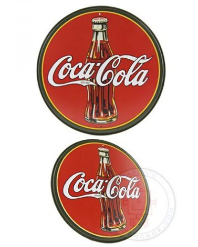 Coca Cola Bottle Circle Tin Sign 1930