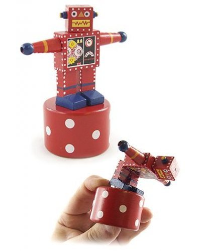 Rocky Red Robot Wood Thumb Puppet
