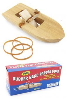 Rubber Band Paddle Boat Wooden