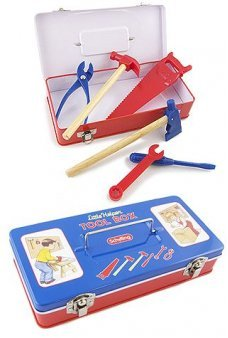 Tin Tool Box with Little Helper Tools
