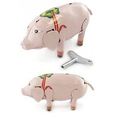 Shakey the Lucky Pig Walking Tin Toy