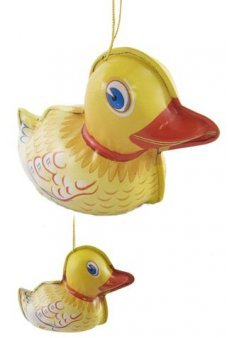 Tin Toy Ducky Ornament Yellow Tin