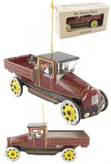Maroon Pickup Truck Ornament Tin Toy