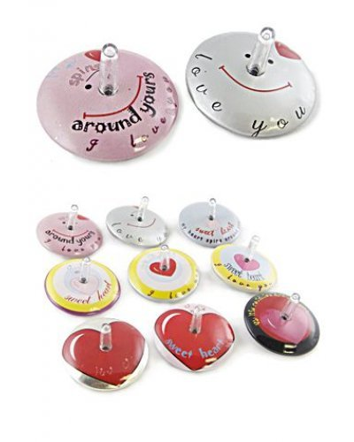 Couple of Hearts Tin Tops Spin Set of 2