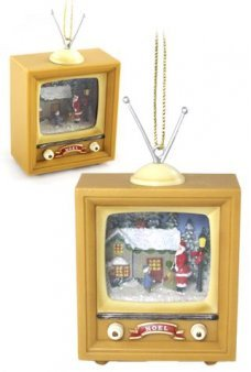 Santa and Child Retro TV Ornament
