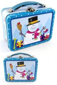 Snowman Tin Lunch Box Blue