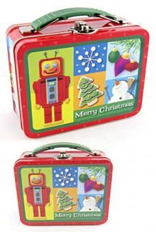 Robot Christmas Tin Lunch Box Red