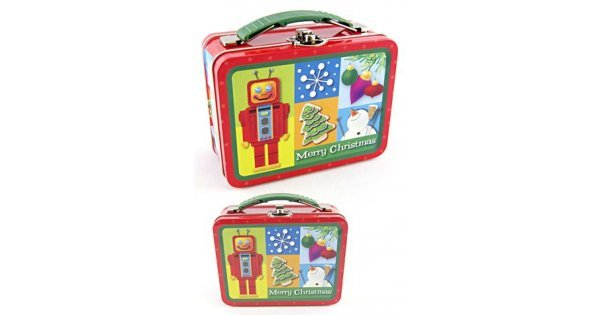 Red Robot Tin Lunch Box : Red And Green Lunchbox : Merry