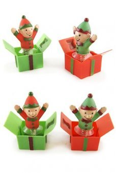Happy Hopping Elves in Boxes Set of 2