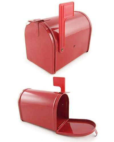 Red Metal Mailbox Toy Miniature with Flag