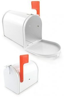 White Metal MailBox Miniature with Red Flag