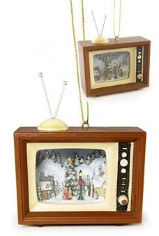 Christmas Caroling Retro TV Ornament