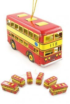 Double Decker Bus Ornament Set of 6