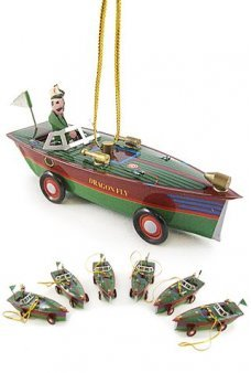 Christmas Green Boat Ornament Set of 6