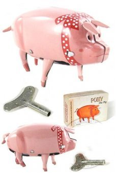 Polly the Pig Red Ribbon Walks Tin Toy