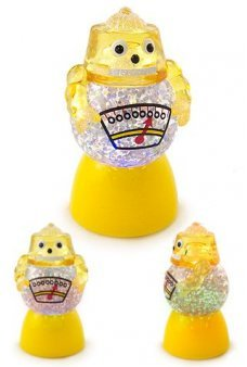 Yellow Robot Glowing Glitter Globe Mini
