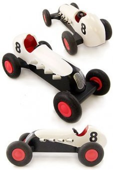 Wood Speedway Racer White Number 8