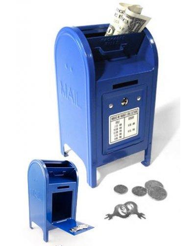 Mailbox Tin Bank Blue US Postal Box