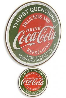 Coca Cola Circle Tin Sign Red Green