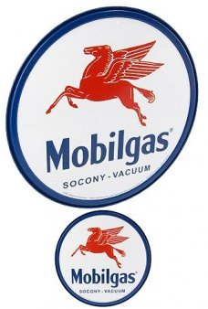 Mobilgas Pegasas Circle Tin Sign 1911