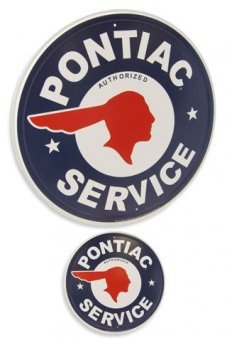 Pontiac Service Circle Tin Sign Indian