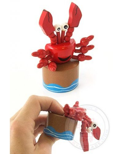Curtis the Crab Wood Thumb Puppet