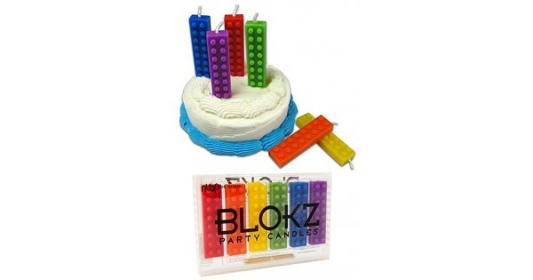 Blokz Party Candles Lego Blocks Style Colors Wax Birthday Cake 6
