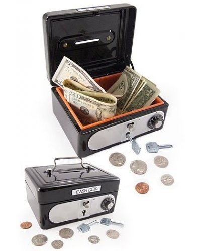 Cash Box Black Steel Combination Lock Bank
