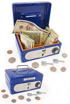 Cash Box Blue Steel Bank with Locks
