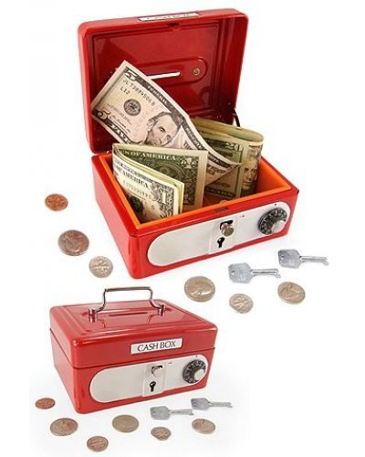 Cash Box Red Steel Bank with Locks