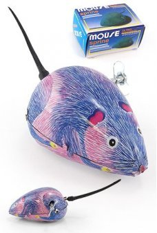 Mouse Blue and Pink Wind Up Tin Toy