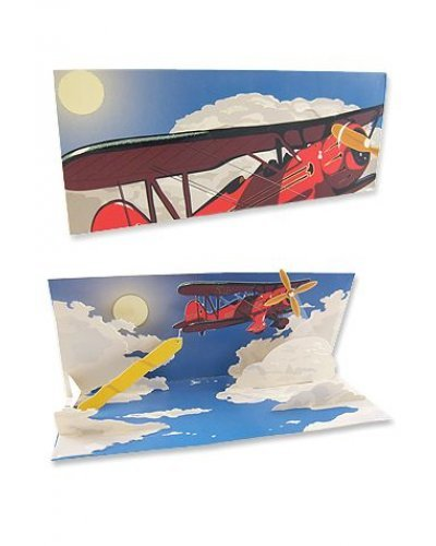 Red Airplane Banner Card 3D Pop Up