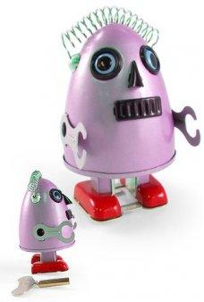 Egg Head Alien Pink Robot Tin Toy